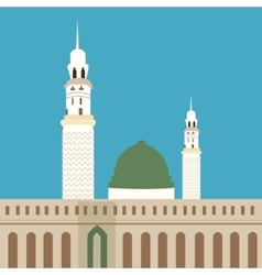 Nabawi mosque madina islam worship dome minaret vector