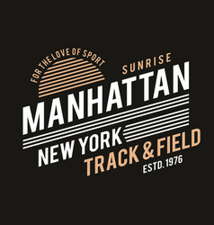 new york typography for t-shirt print track vector image