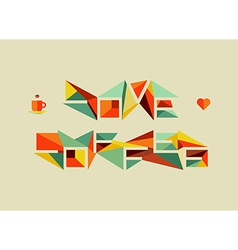 Origami coffee love concept vector image