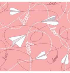 Paper Planes with Tangled Lines Seamless Pattern vector image