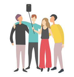 people doing selfie friends embracing vector image