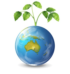 Planet earth with a growing green plant vector