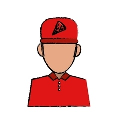 Portrait delivery pizza boy sketch vector