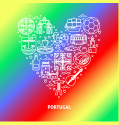 portugal concept with icons in line style and vector image