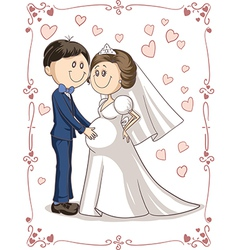 Pregnant Couple Wedding Invitation Cartoon vector