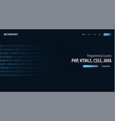 Programming courses website or mobile app landing vector