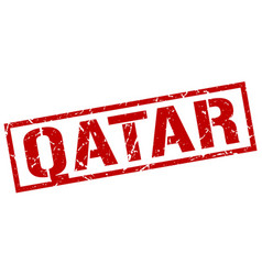 Qatar red square stamp vector