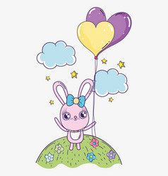 rabbit with hearts balloon to valentine day vector image