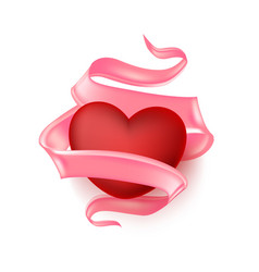 realistic heart elegant silk satin ribbon vector image