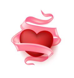 Realistic heart elegant silk satin ribbon vector