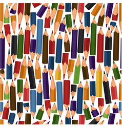 Seamless pattern with colour pencils vector