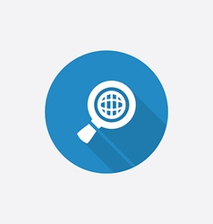 search globe Flat Blue Simple Icon with long vector image
