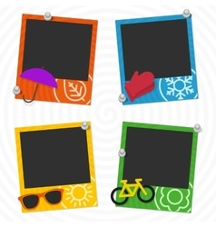 Seasons photo frames vector