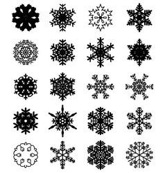 set black snowflakes vector image