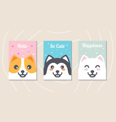 set cute dog cards with messages vector image