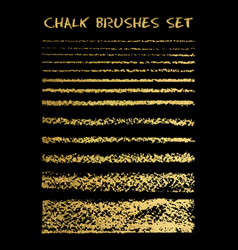 Set of gold chalk brushes lines with chalk vector
