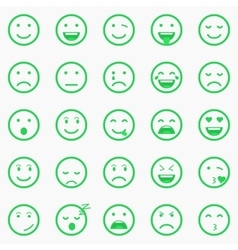Set of green Emoticons Emoji and Avatar vector image