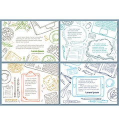 Set of office workplace education backgrounds vector
