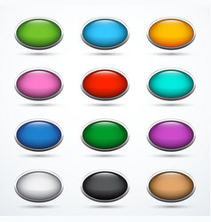 set of oval buttons vector image
