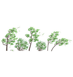 set trees and bushes in windy weather vector image