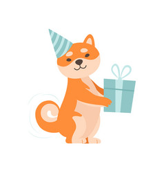 Shiba inu dog in party hat holding gift box cute vector