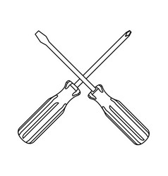 Silhouette set collection screwdriver icon tools vector