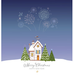 small snow covered house christmas trees and vector image