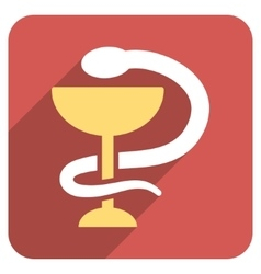 Snake Cup Flat Rounded Square Icon with Long vector