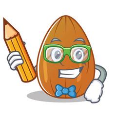 Student almond nut character cartoon vector