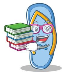 Student with book flip flops character cartoon vector
