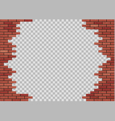 Template hole in red brick wall vector