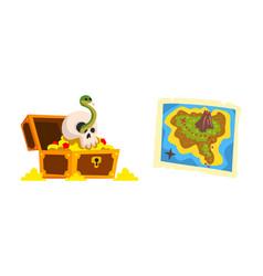 treasure chest and map set pirate symbols cartoon vector image