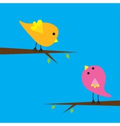Two cartoon birds Card vector image