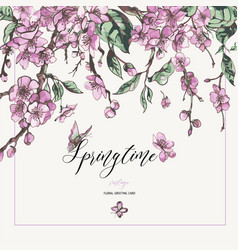 watercolor spring greeting card vintage floral vector image