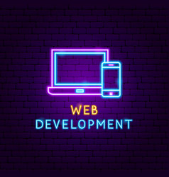Web development neon label vector