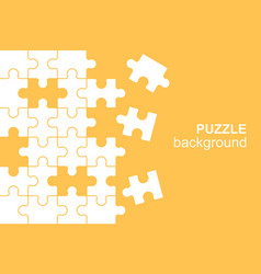 White details puzzle on yellow background vector