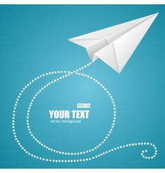 White paper plane on blue sky and text box vector