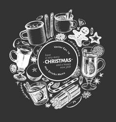Winter drinks banner template hand drawn engraved vector