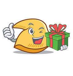 With gift fortune cookie mascot cartoon vector