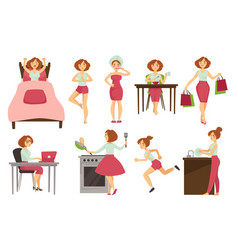 Woman daily routine icons vector