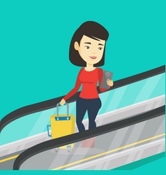 woman using smartphone on escalator in airport vector image