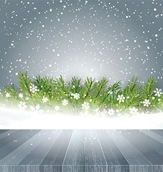 wooden table looking out to Christmas background vector image