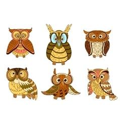 Cartoon funny owlets and eagle owl birds vector image vector image