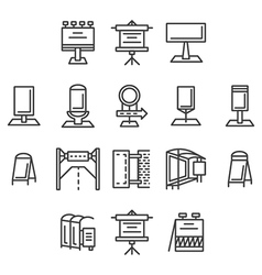 City advertisement flat line icons vector image