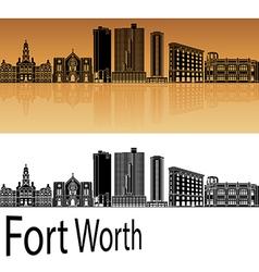Fort Worth skyline in orange vector image