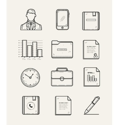 modern office and business icons set Line vector image vector image