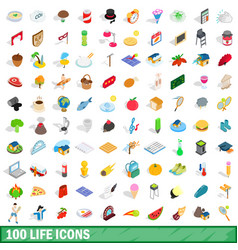 100 life icons set isometric 3d style vector image