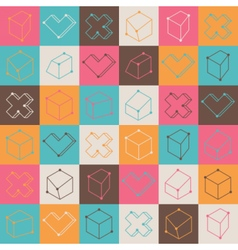 Checker pattern with geometric shapes vector image vector image