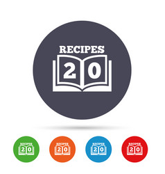 Cookbook sign icon 20 recipes book symbol vector