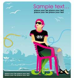Girl in chair vector